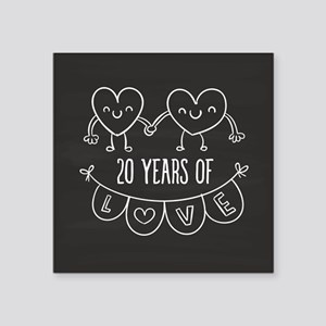 "20th Anniversary Gift Chalk Square Sticker 3"" x 3"""